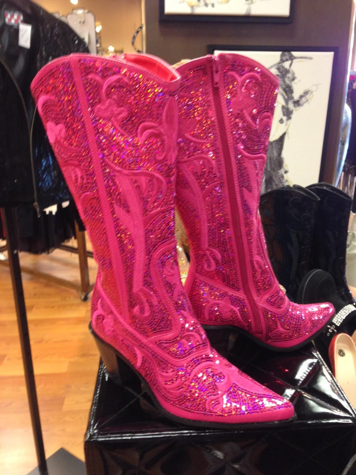 pink sequin cowgirl boots