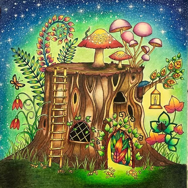 I Used Mostly Polychromos Pencils Some Prismacolor And A White Gelly Roll Gel Pen Enchantedforest Enchantedforestcoloringbook Treestump