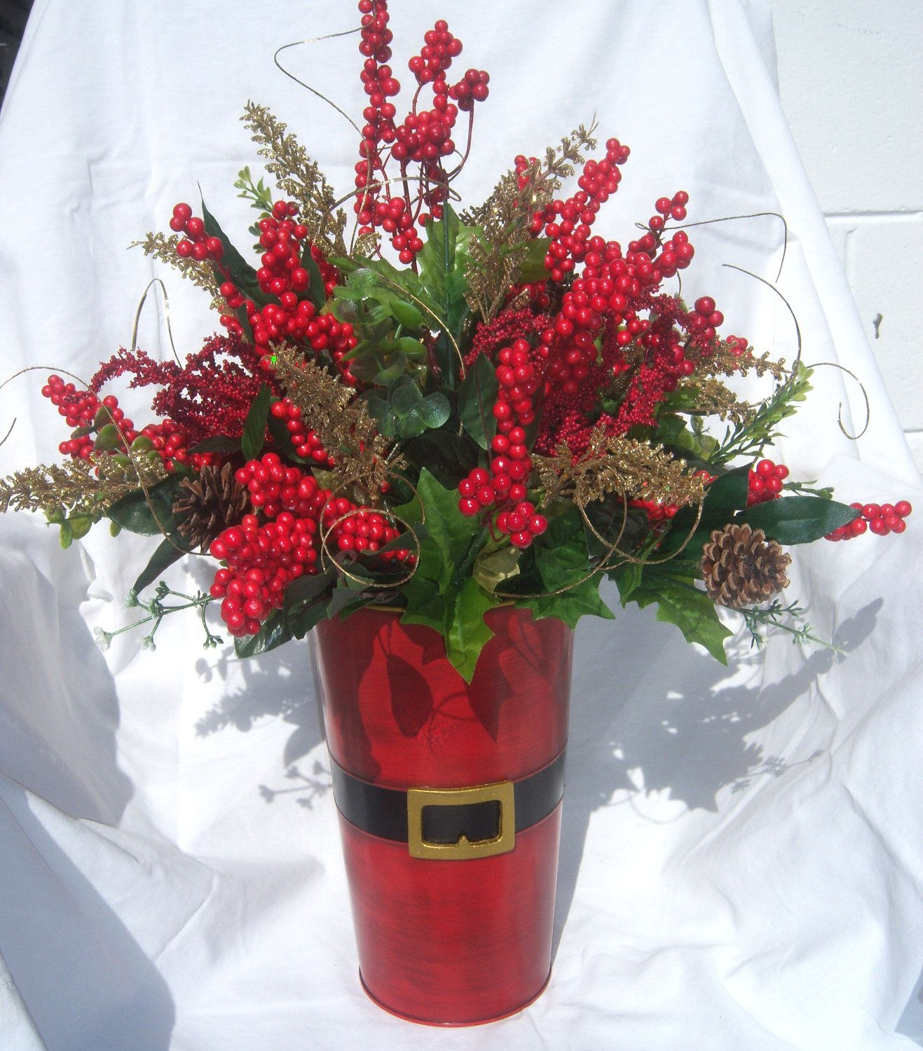Red silk christmas arrangement christmas centerpieces pinterest cute containercould use a galvanized pail spray paint red add black belt use fresh berries and pine christmas flowers mightylinksfo