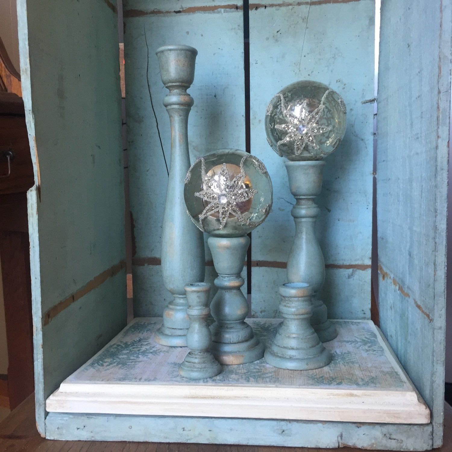 6 Piece Shabby Chic Hand Painted Wood Candle Holder Tray Set For
