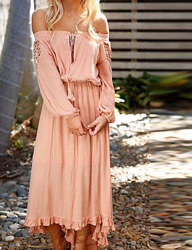 Photo of Kvinner Boho Slim Sheath kjole – ensfarget, blonder Maxi asymmetrisk stropp av …