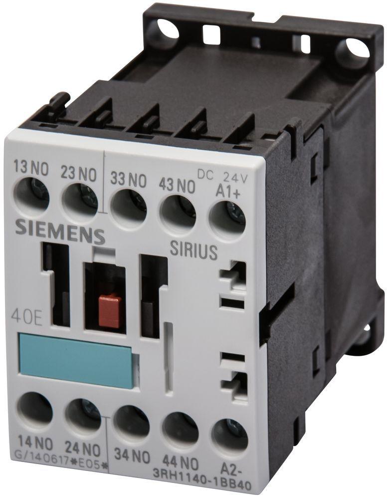 Siemens 3RH1140-1BB40 Contactor Relay, 4 NO, 24 VDC, Screw