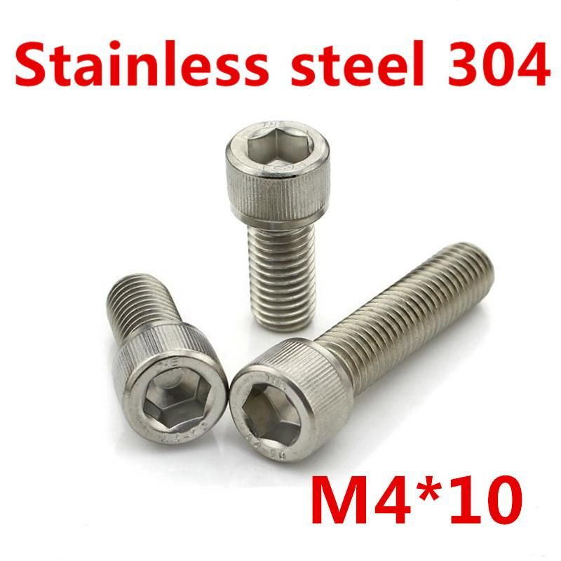 M4 304 Stainless Steel Hex Nut Fastener 100pcs for Screw Bolt