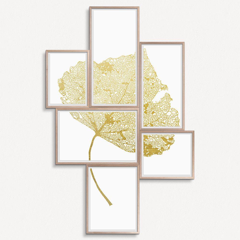 Leaf Grouping Golden  #artsquaredinc #art #design #gold #leaf #goldleaf #SkeletonLeaf