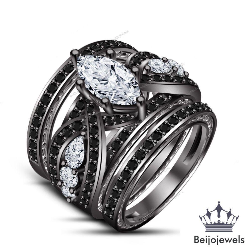 Pin On 3 Piece Bridal Engagement Ring Set
