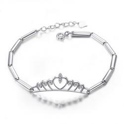 Glamorous Big Crystal Crown And Joint Design Sterling Silver Bracelet - USD $45.95