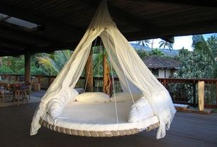 Eclectic Porch with Pottery Barn Tibetan Barstool, Mosquito Net, Floating bed