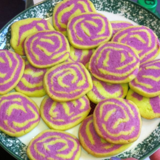 Purple and green twisted sugar cookies