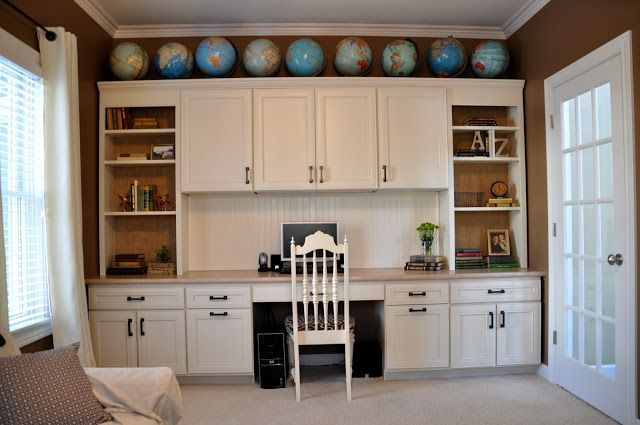 Home Office Built In Cabinets Burlap Wallpaper Globes Collection