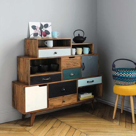 cabinet de rangement vintage en manguier massif l 125 cm picadilly maisons du monde home. Black Bedroom Furniture Sets. Home Design Ideas