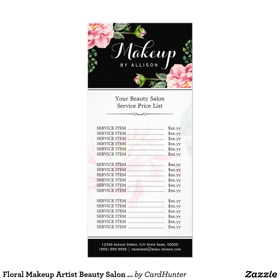 Vintage Floral Hair Stylist Or Barber Services Menu  Salon Price