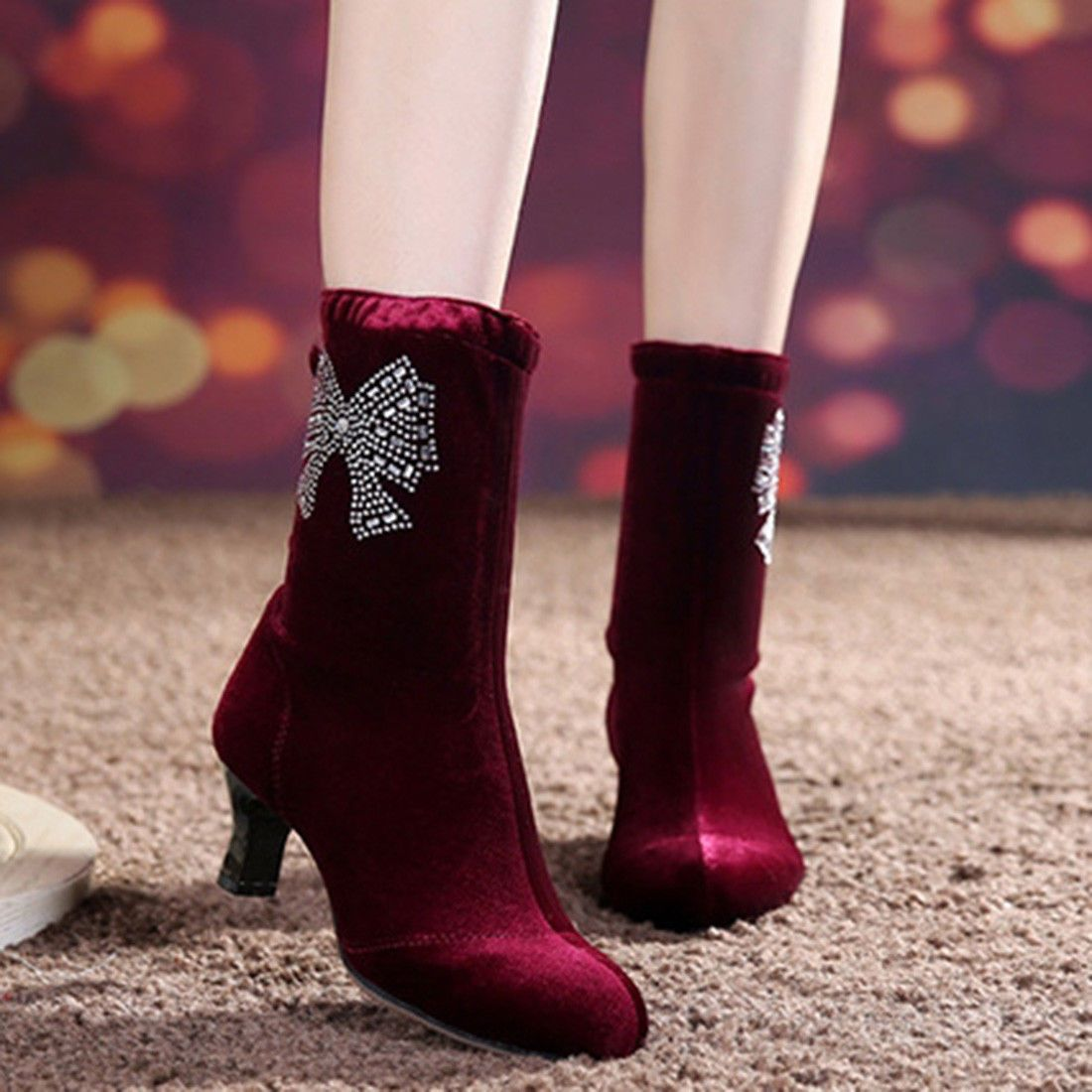 93118aba1a Hot Women Ladies Pointy Boots Velvet Rhinestone Dance Bow Knot Crystal Mid  Heel