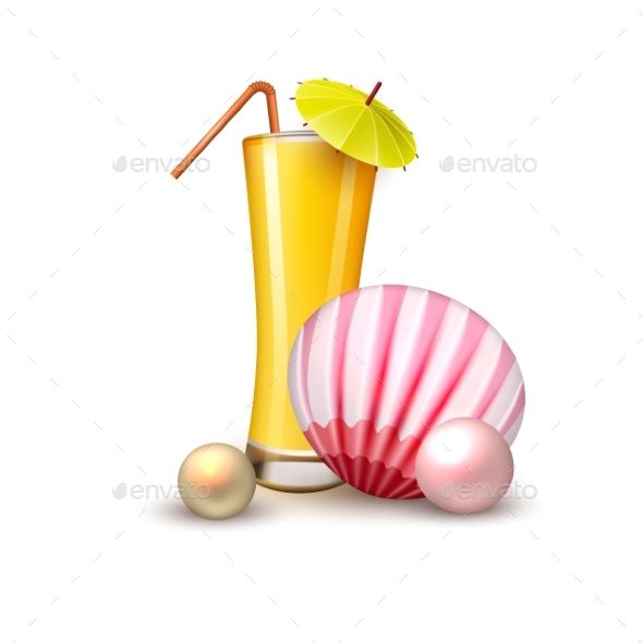 vector summer vacation realistic juice glass shell vector eps