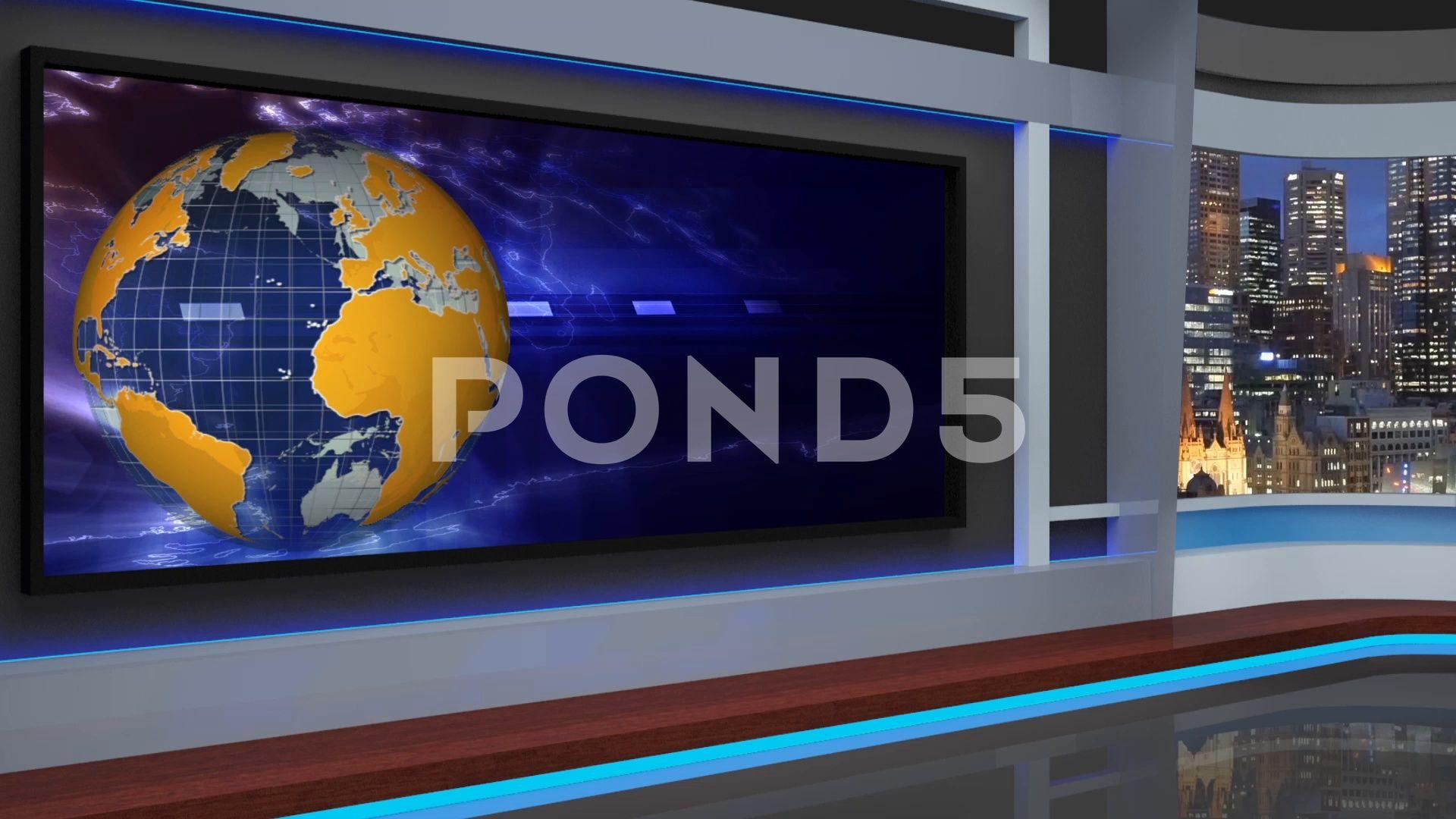 HDTV News Virtual Studio Green Screen Background Yellow Blue Globe