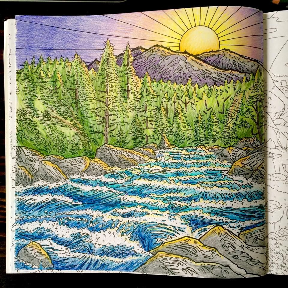 Coloured By Jenny Kafka Using Pencil Crayons From Legendary Landscapes Coloring Book Journey Line Art Al Sayers