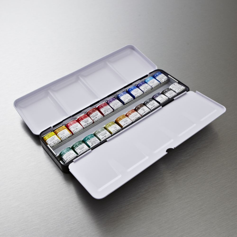 Winsor Newton Artists Watercolour Lightweight Metal Box Set Of