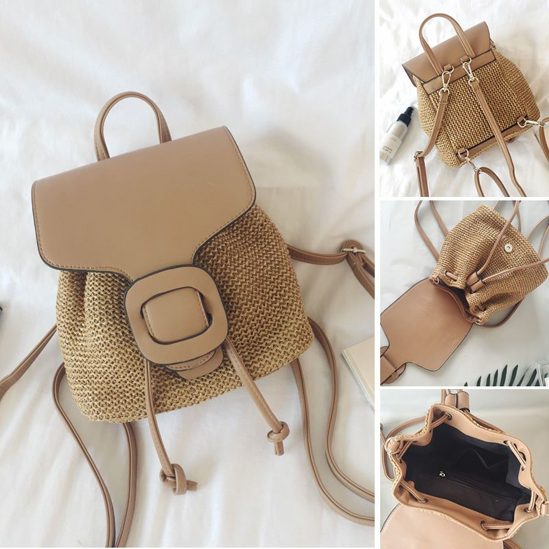 Straw Crochet Convertible Small Mini Backpack Rucksack Daypack Purse Cute  Bag 3ec29f2ba9e6a