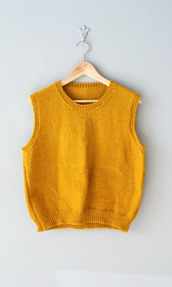 vintage sweater vest / 1960s mustard sweater / Saffron sweater ...