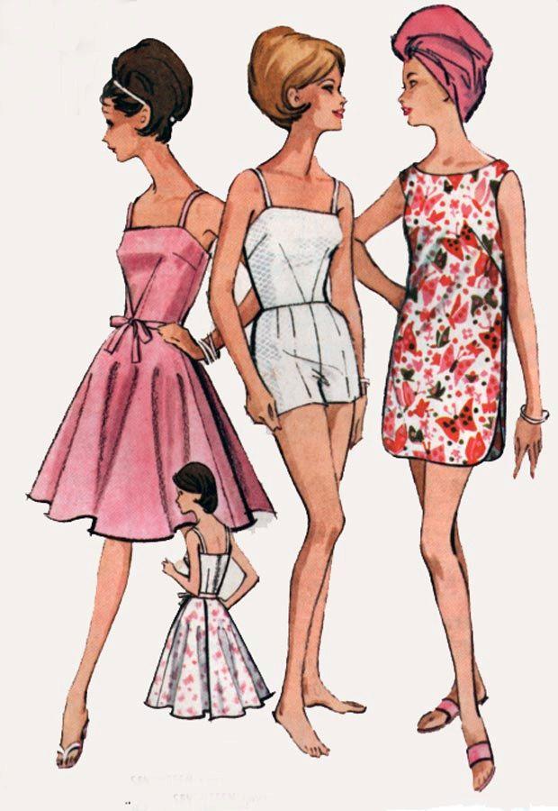 Vintage 60s McCalls 6780 Madmen Bathing Suit with boy Shorts, Wrap ...