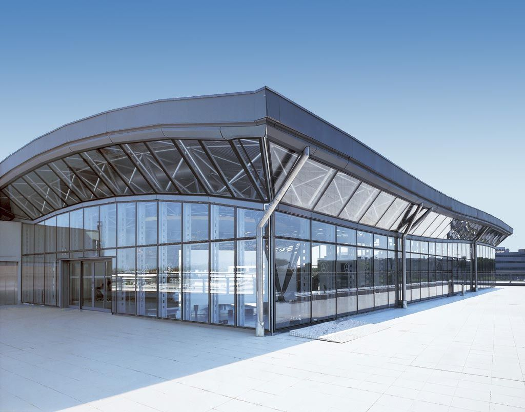 High Performance Glass Facade : Mercedes showroom in rome italy glass facades feature