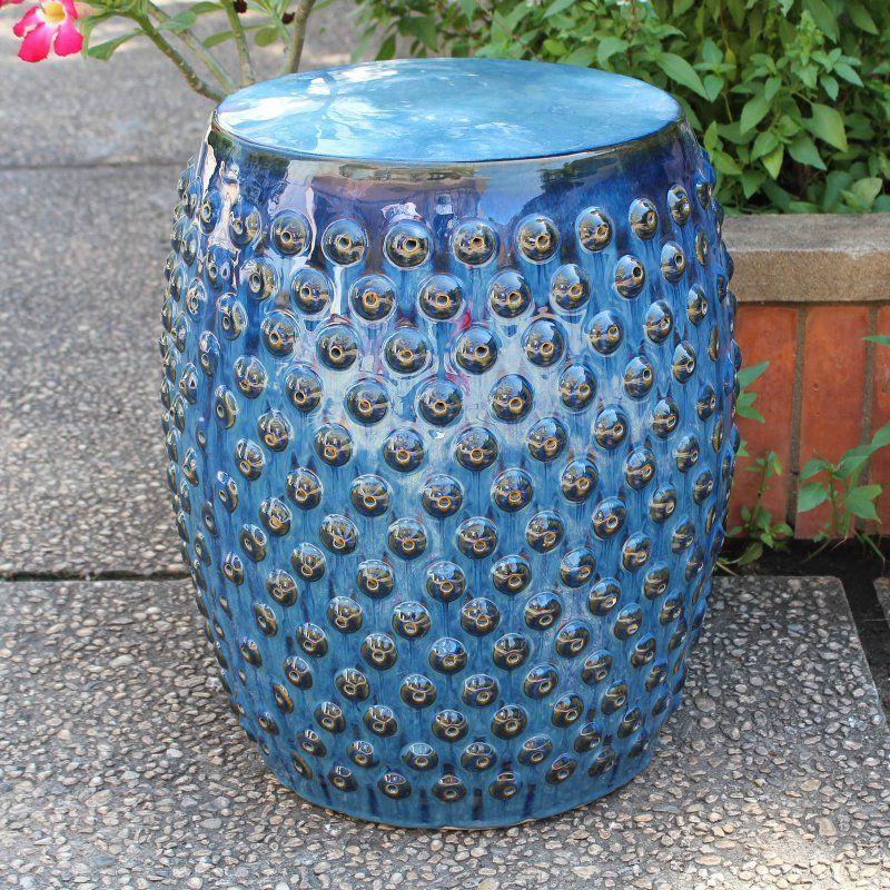 Outdoor International Caravan Catalina Perforated Ceramic Garden Stool - OPG-070-NV