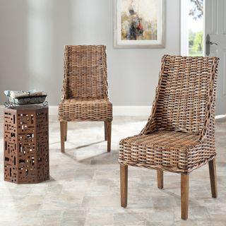 safavieh st thomas indoor wicker brown sloping arm chairs set of