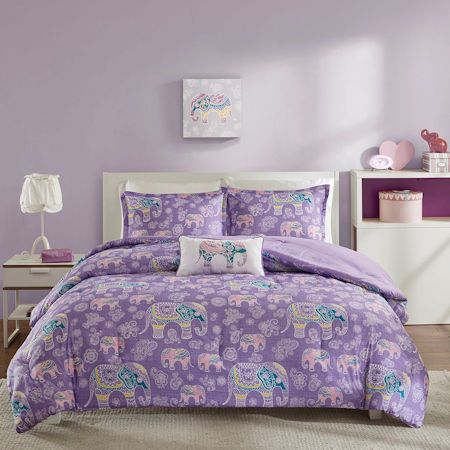 lavender purple elephant bedding for girls twin xl fullqueen comforter or quilt set with - Purple Comforters
