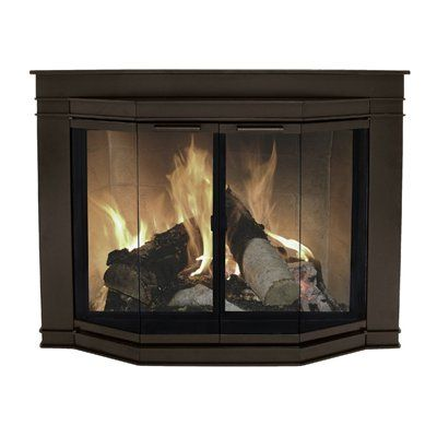 pleasant hearth glacier bay medium bifold bay fireplace doors