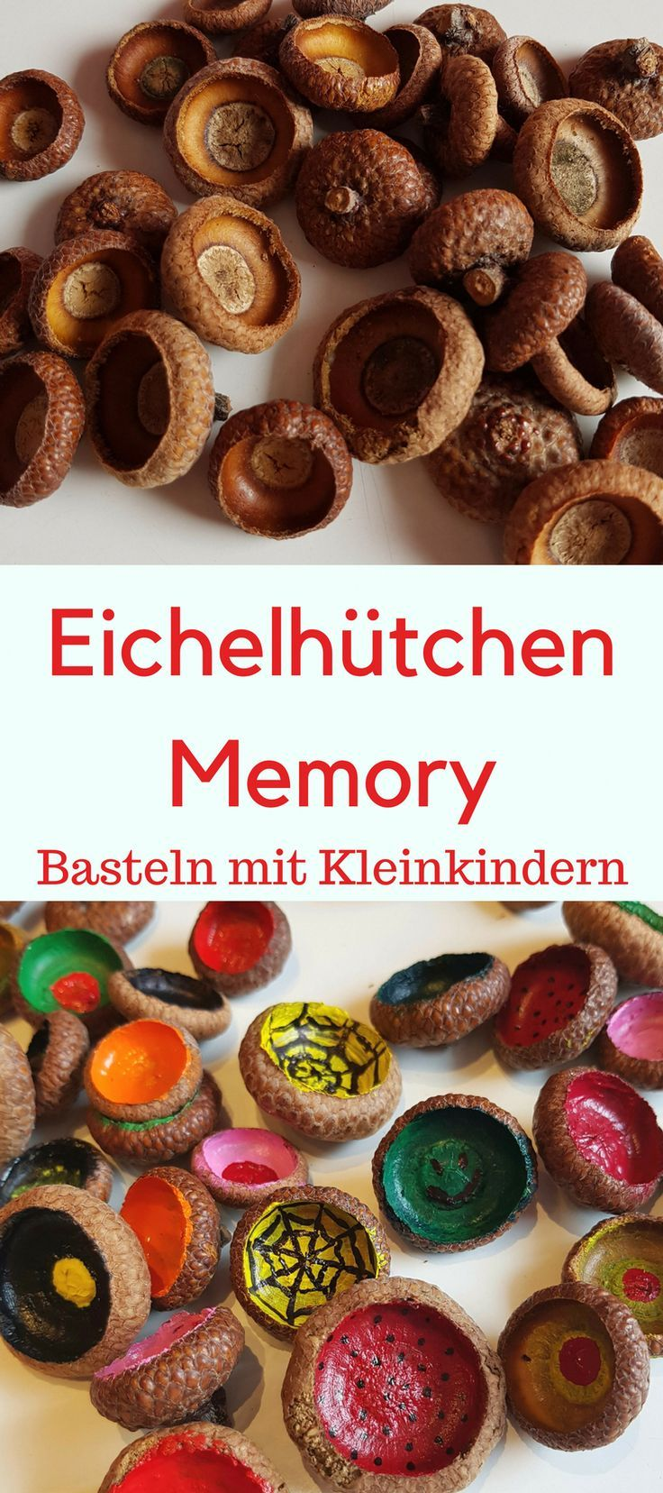 Wald-Memory aus Eichelhütchen-basteln im Herbst ,  #aus #Eichelhütchenbasteln #Herbst #WaldMe... #herbstdekobastelnnaturmaterialien