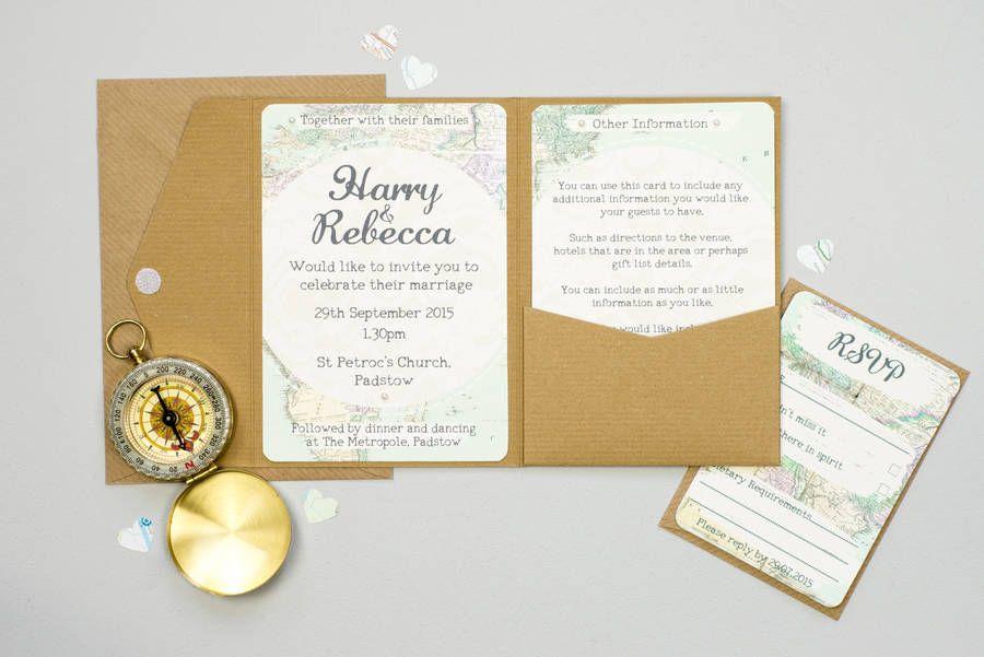 Travel Inspired Map Wedding Invitation Set   Pocketfold wedding ...