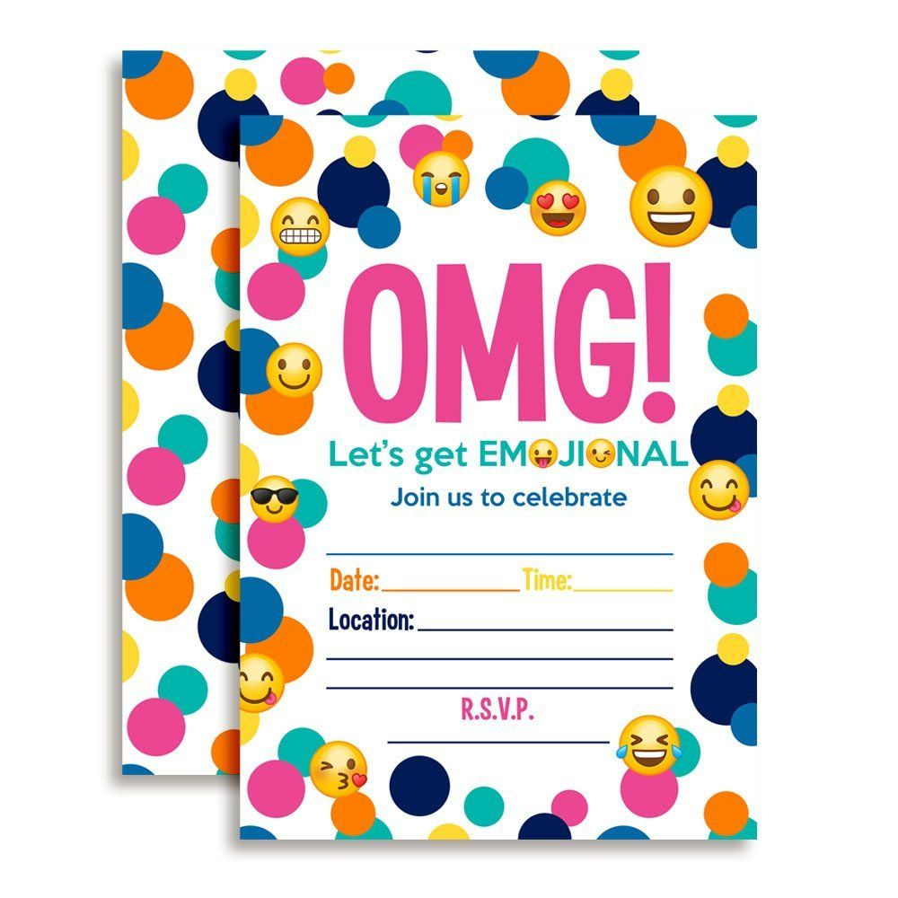 Amazon.com: Emoji Birthday Party Fill In Invitations: Toys & Games ...