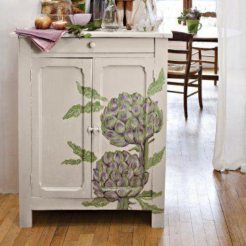 Un meuble peint d\u0027artichauts Repeindre, Artichaut et Peindre - Repeindre Une Armoire En Pin