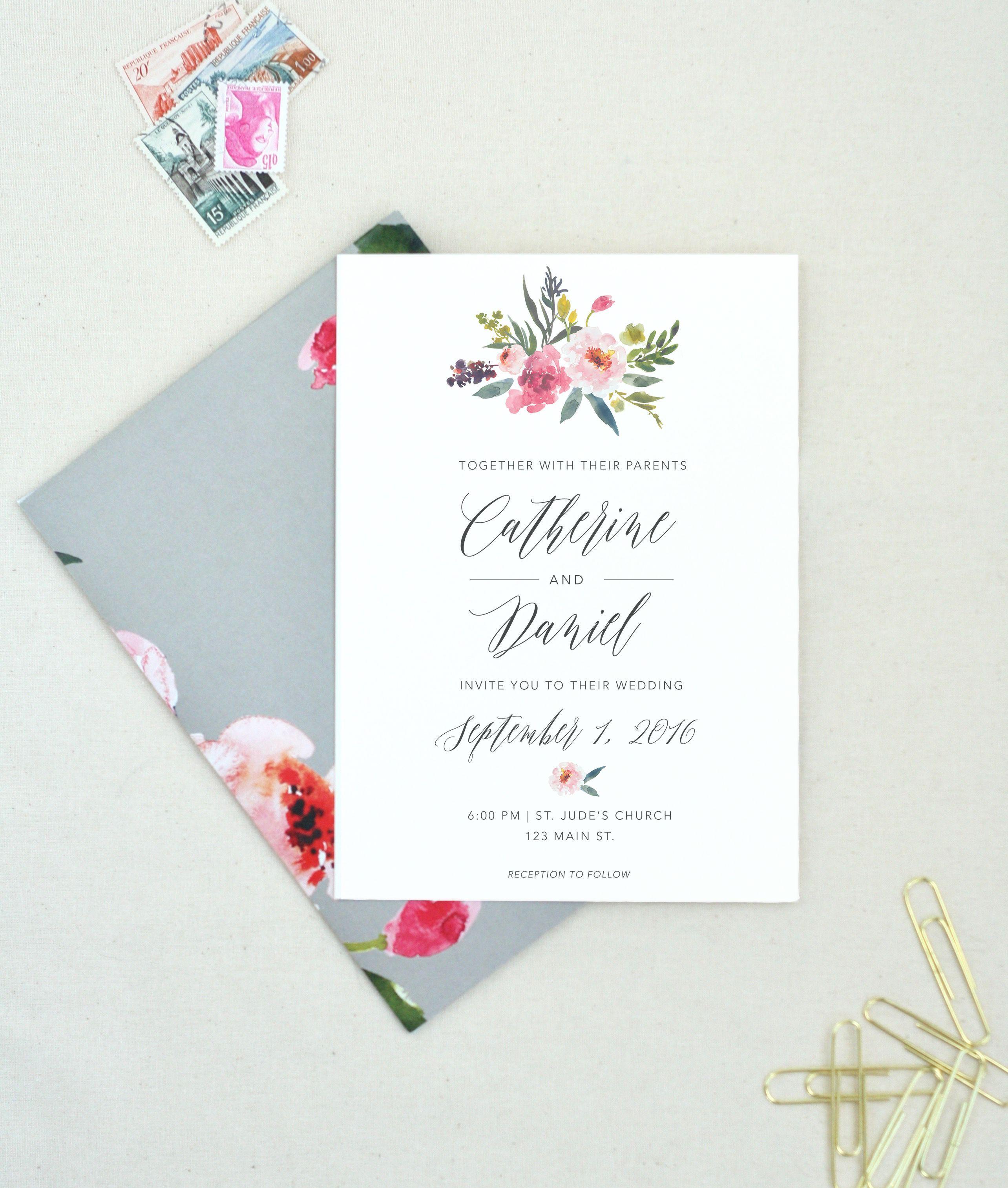 A beautiful custom wedding invitation for a pink wedding