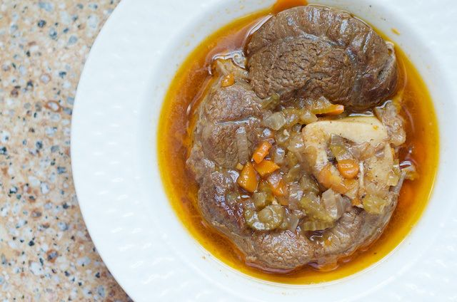 "Osso Buco (also known as ossobuco, Italian for ""bone with a hole"") You'll spend about 15 minutes preparing ingredients, and then occasionally checking on it over 2 hours.  This recipe calls for beef shanks, bone in"