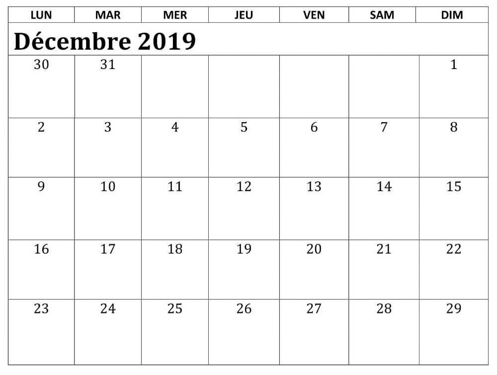 Template Calendrier 2019.Word Decembre Calendrier 2019 Blank Calendar Template
