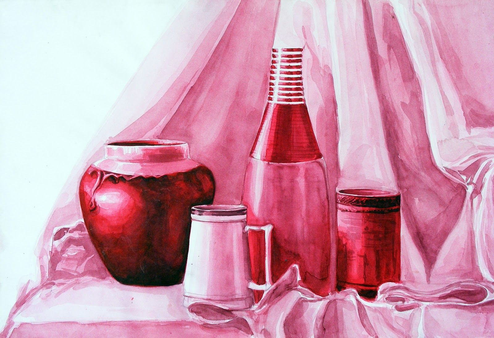 Still Life Monochrome Watercolour Monochromatic Art High