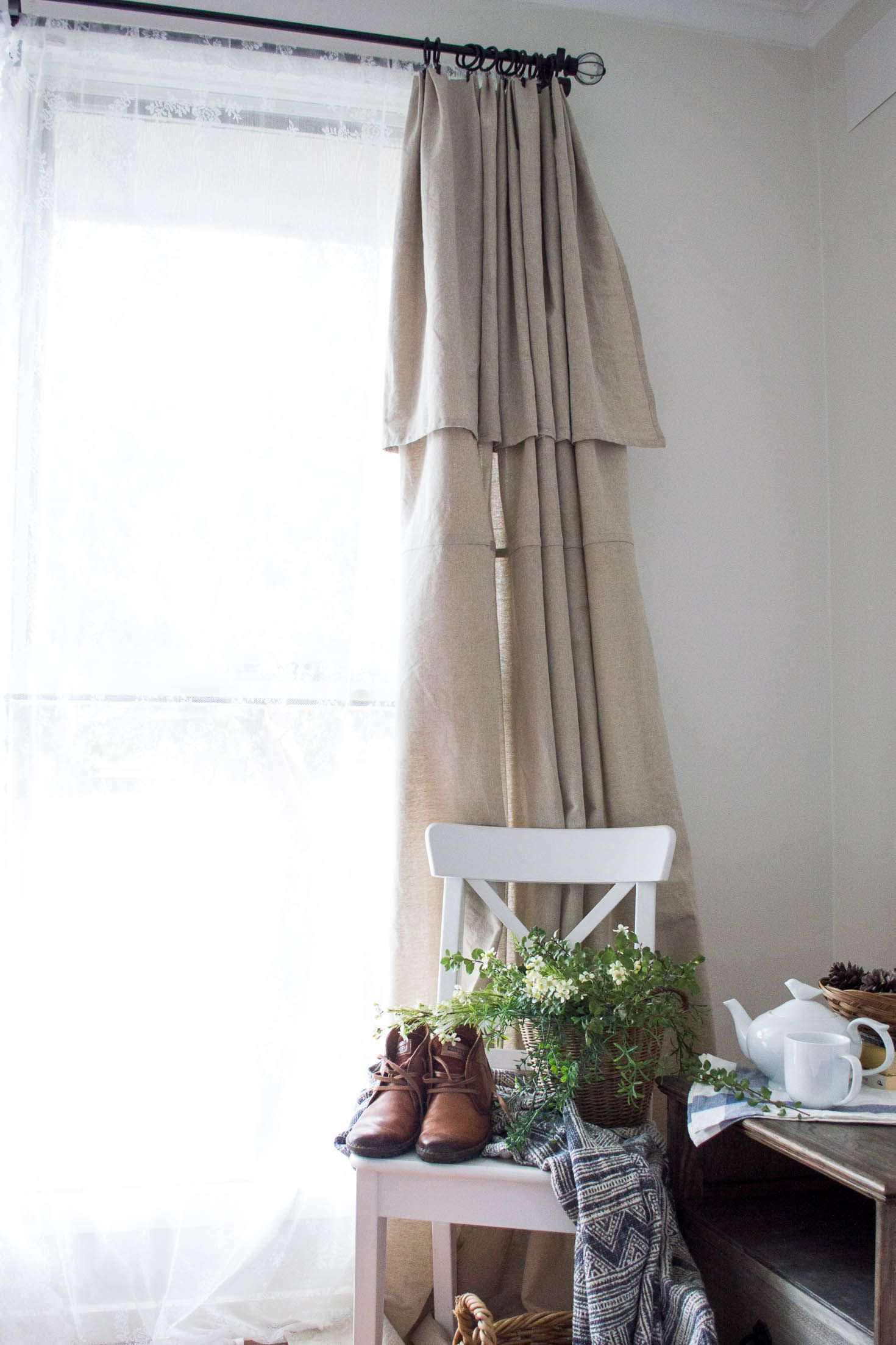 Diy No Sew Farmhouse Curtains From A Tablecloth Farmhouse