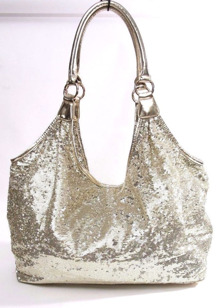 6f797b9f12 Joan Boyce Gold Sequin Extra Large Hobo Tote Shoulder Bag  JoanBoyce   TotesShoppersHoboShoulder
