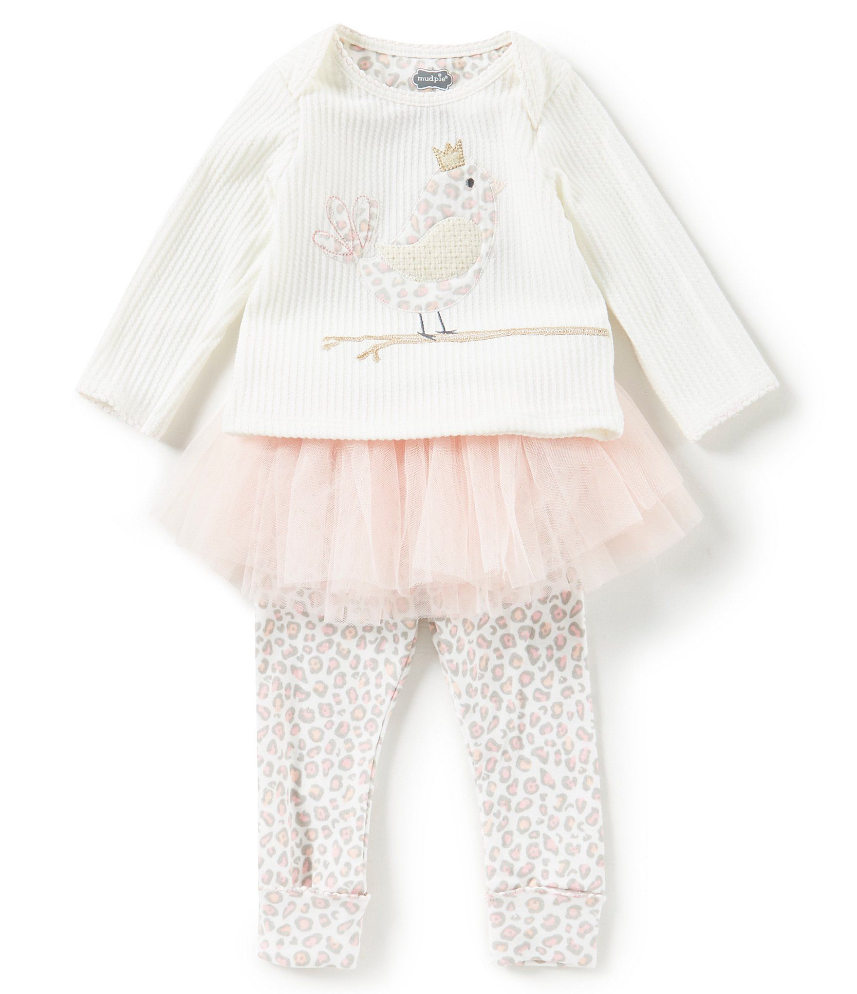 Mud Pie Baby Girls Newborn 12 Months Bird Tunic & Tutu Skirted