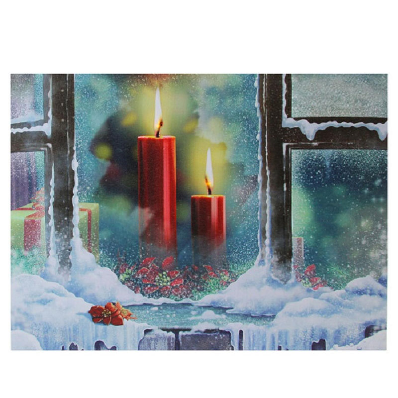 Led Lighted Snowy Window Pane And Candles Christmas Canvas Wall Art