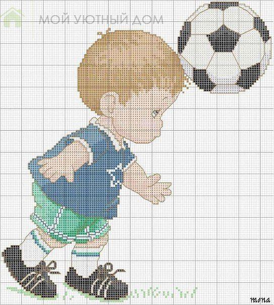 Bordados de niños deportistas en punto de cruz … | trapesty crochet ...