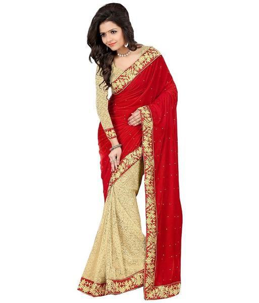 4e14bdbb52 #Purchase online #Partywear Velvet Bridal Sarees Floral Lace Border &  Stone Work Net