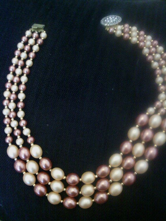 Vintage 1980s 1960s Style peach & pink 3 strand by LuluBrandy, £15.00