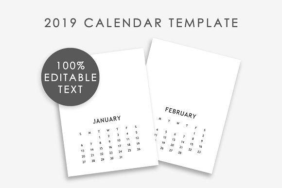 Editable Calendar Template 2019 by DesignStudioTeti #creativemarket