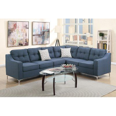 Mercer41 Juno Linen Like Sectional Upholstery Navy Sectional Sofa Couch Furniture Modern Couches Living Room