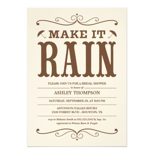 Vintage Make It Rain Bridal Shower Invitations Crafts Creation
