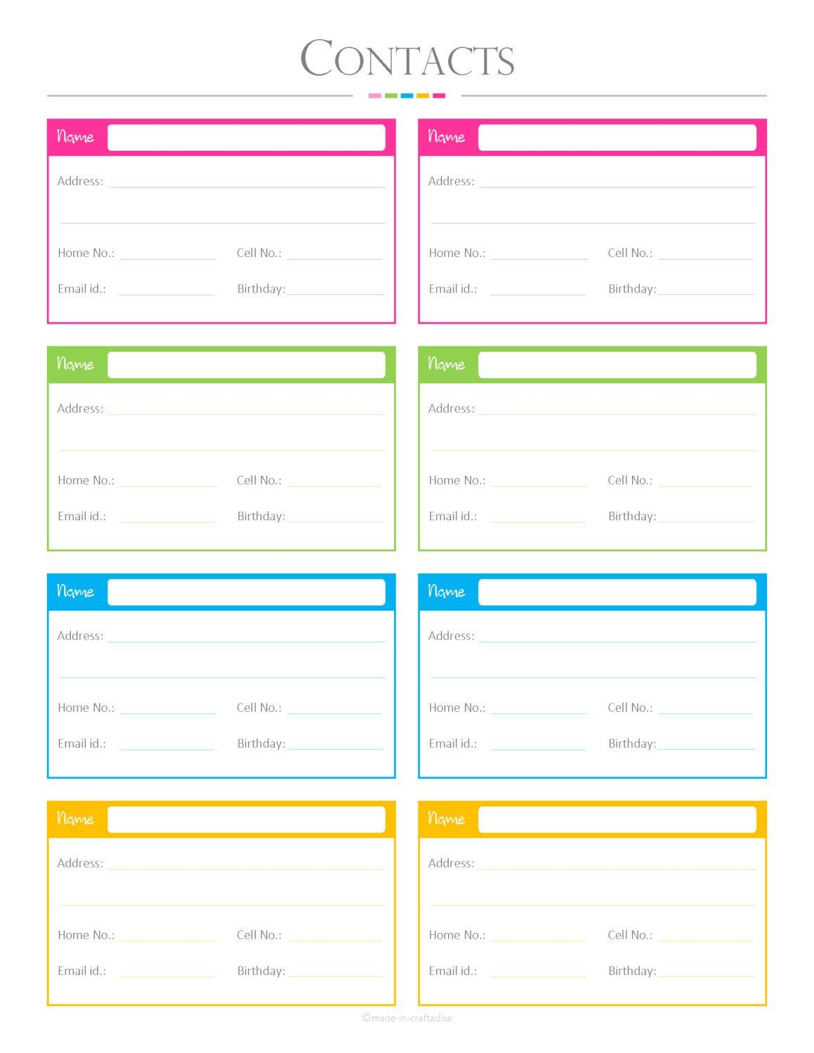 Contacts list pdf planner contact list checklist list to