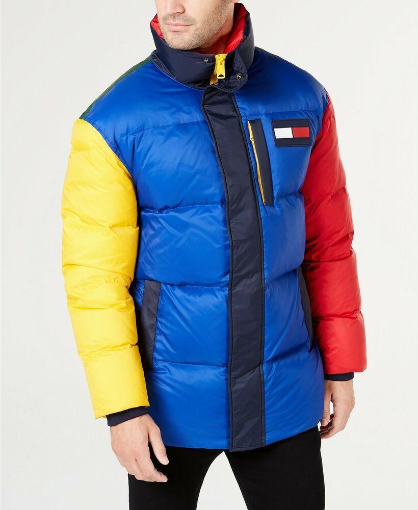 Ebay Sponsored 345 Tommy Hilfiger Men S Blue Red Colorblock Logo Down Puffer Jacket Coat 2xl Roupas Moda Infantil Moda [ 1000 x 820 Pixel ]