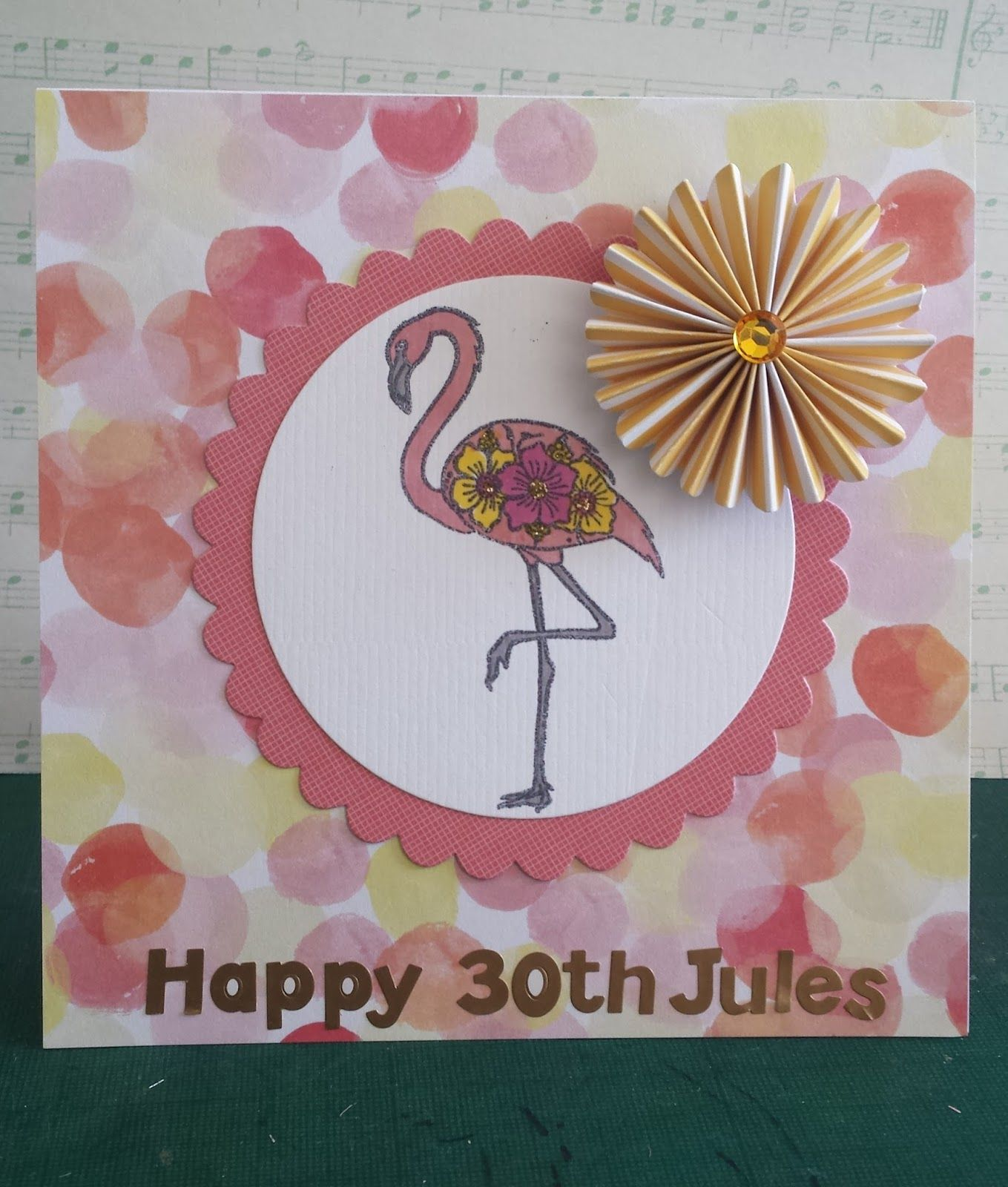 A really fun flamingo stamp paired with watercolored paper for a
