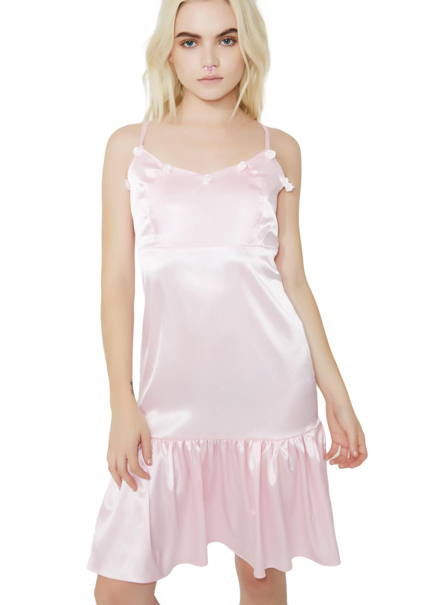 Rose satin mini dress